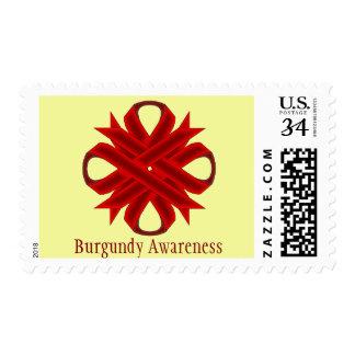 Burgundy Clover Ribbon Stamp