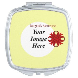 Burgundy Clover Ribbon Template Compact Mirror