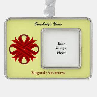 Burgundy Clover Ribbon Template (H-O) Silver Plated Framed Ornament