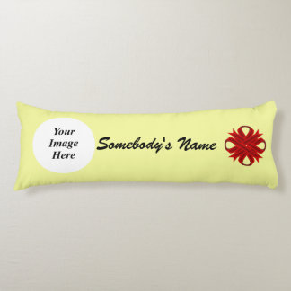 Burgundy Clover Ribbon Template Body Pillow
