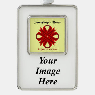 Burgundy Clover Ribbon Template (V-I) Silver Plated Framed Ornament