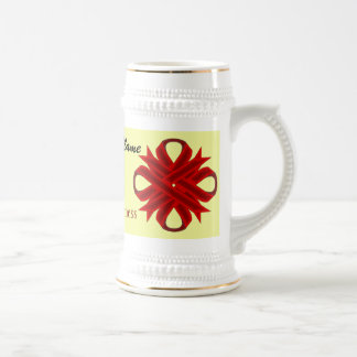 Burgundy Clover Ribbon Tmpl by Kenneth Yoncich Beer Stein