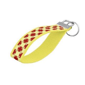 Burgundy Clover Ribbon Wrist Keychain