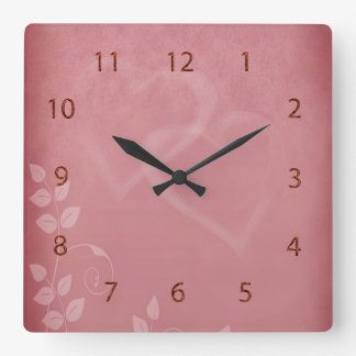 Burgundy Color Vintage Square Wall Clock