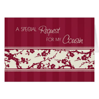 Burgundy Cousin Maid of Honor Invitation Card