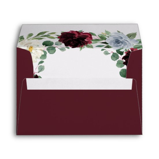 Burgundy Cranberry Dusty Blue Floral Fall Wedding Envelope