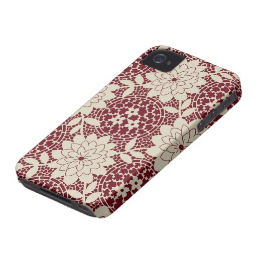 burgundy creme floral lattice damask iPhone 4 cover
