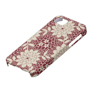 burgundy creme floral lattice damask iPhone 5 cover