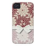 burgundy creme floral lattice damask iPhone 4 case