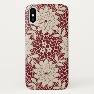 burgundy creme floral lattice damask iPhone x case