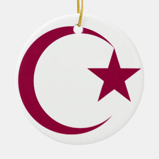 Burgundy Crescent & Star.png Christmas Ornaments