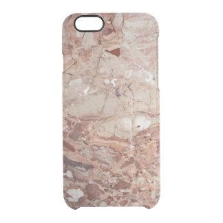 Burgundy Crimson Stoney Pebble Marble finish Clear iPhone 6/6S Case