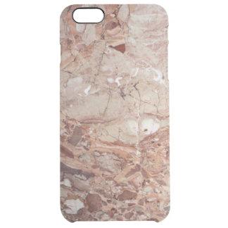 Burgundy Crimson Stoney Pebble Marble finish Clear iPhone 6 Plus Case