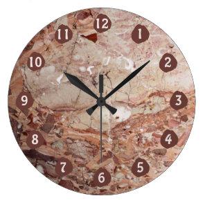 Burgundy Crimson Stoney Pebble Marble finish Large Clock