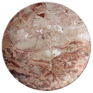 Burgundy Crimson Stoney Pebble Marble finish Porcelain Plate