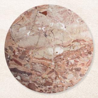 Burgundy Crimson Stoney Pebble Marble finish Round Paper Coaster