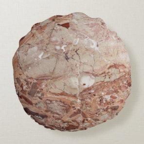 Burgundy Crimson Stoney Pebble Marble finish Round Pillow