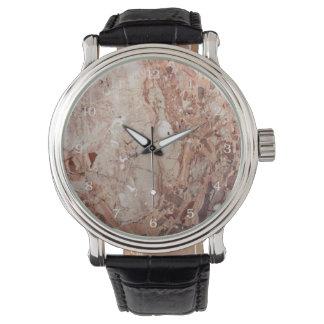 Burgundy Crimson Stoney Pebble Marble finish Watch