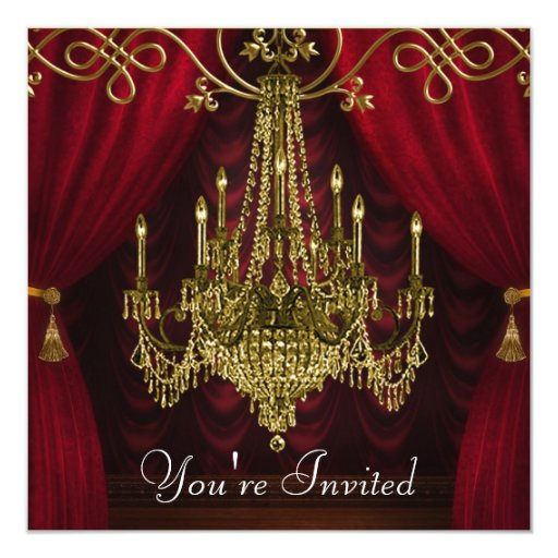 Burgundy Curtains Red Gold Chandelier Party Invitation Zazzle