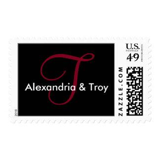 Burgundy Custom Initials Stationery Postage