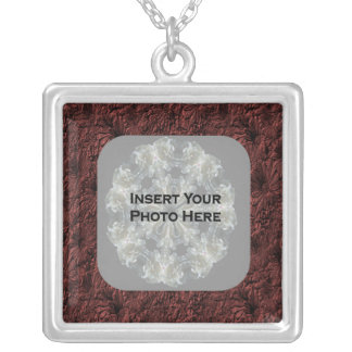 Burgundy Daisies Floral Photo Silver Plated Necklace