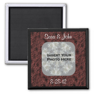 Burgundy Daisies Photo Wedding Magnet