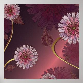 Burgundy Daisy's Poster