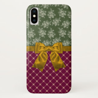 Burgundy Damask and Gold Ribbon iPhone X Case
