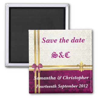 Burgundy damask and gold ribbon save the date magnet