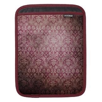 Burgundy Damask iPad Sleeve - Vertical