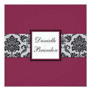 Burgundy Damask Monogram Wedding Invitation 5.25