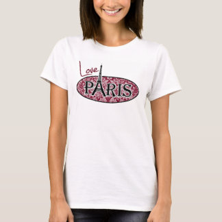 Burgundy Damask Pattern; Paris T-Shirt