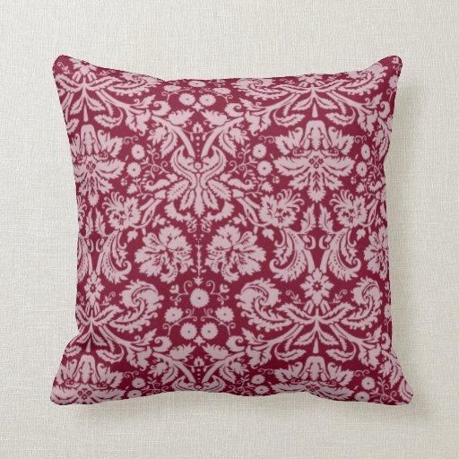 Throw Pillow Zazzle : Burgundy Damask Pattern Throw Pillow Zazzle