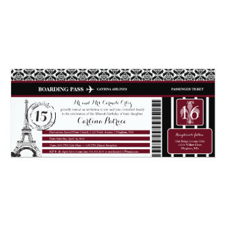 Burgundy Damask Quinceanera Paris Boarding Pass Card