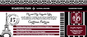 Burgundy Damask Quinceanera Paris Boarding Pass Invitation