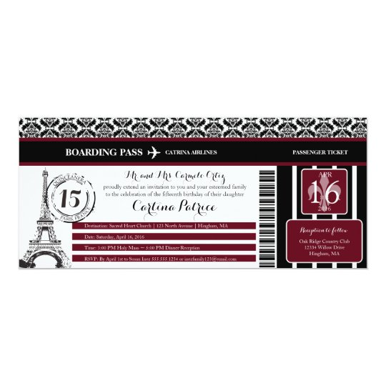 Burgundy Damask Quinceanera Paris Boarding Pass Invitation Zazzle Com