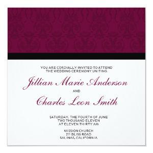 Burgundy Damask Wedding Invitations 5.25