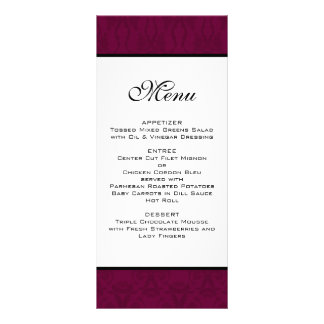 Burgundy Damask Wedding Menu