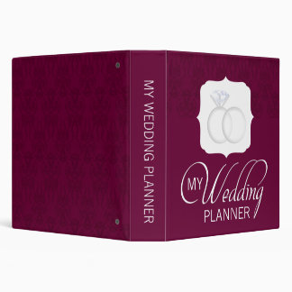 Burgundy Damask Wedding Planner Binder