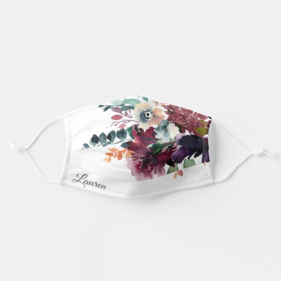 Burgundy Dark Floral Wedding Bouquet with Name Cloth Face Mask