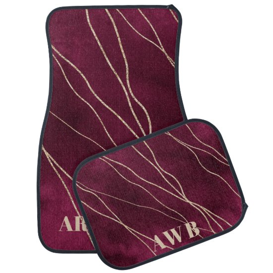 Burgundy Dark Rose Pink Ombre Threads of Gold Car Floor Mat
