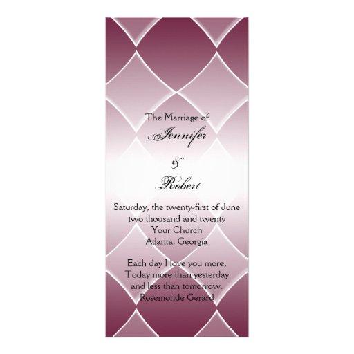 Burgundy Diamond Rounded Corners Wedding Program Custom Rack Cards