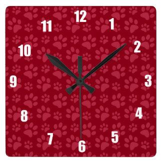 Burgundy dog paw print pattern square wall clock