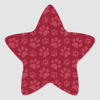 Burgundy dog paw print pattern sticker