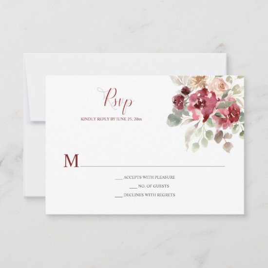 Burgundy & Dusty Rose Watercolor Floral Solid Bkgr RSVP Card
