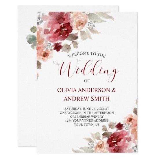 Burgundy & Dusty Rose Watercolor Floral Wedding Invitation