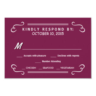 "Burgundy Eat Drink & RSVP Rustic Wedding Reply 3.5"" X 5"" Invitation Card"