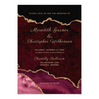 Burgundy Agate Wedding Invitation