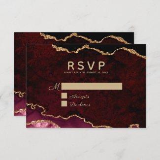 Burgundy Gold Agate RSVP Card
