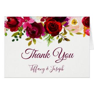 Burgundy Elegant Floral Garden Wedding Thank You Card